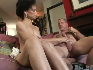 Cum thirsty grannie tries to get a portion of delicious man juice