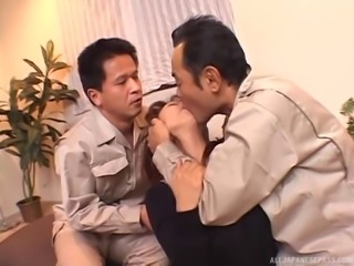 Japanese military men double team a cute cock slut