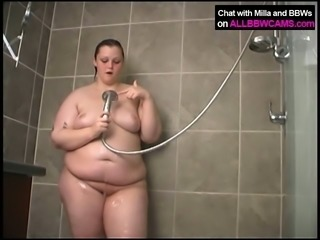fat chubby takes a shower nude