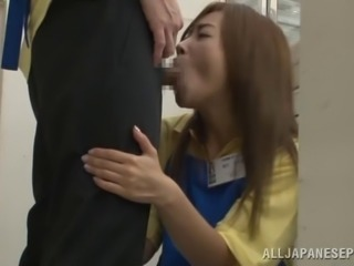 Heavenly Japanese babe giving a hot blowjob inn public