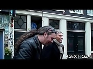 Nice-looking amsterdam hooker rides a large hard rod passionately