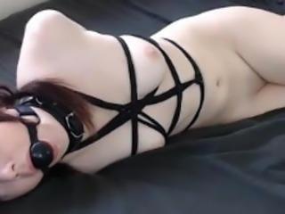 naked hogtied girl orgasm with lovense