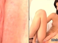 Lovely chick is spreading tight vagina in close up and getti
