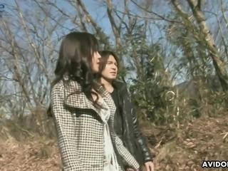 Lovely and shameless Japanese hottie Saki Ogasawara rides dick outdoors