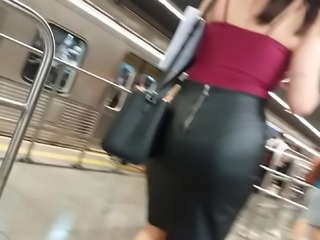Big ass secretary leather skirt 1