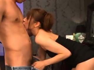 Sensual blow job from a pretty young japanese schoolgirl