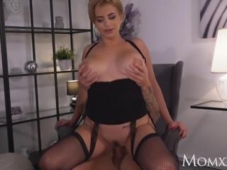 MOM Dirty talking Latina MILF in fishnet stockings