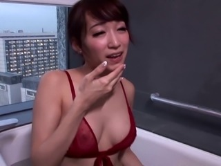 Skinny Asian bimbo in a bathtub taking a hard cock in her wet cunt