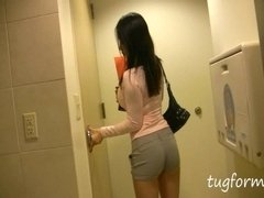asian girl catches you jerking in the bathroom