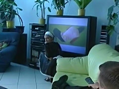 French maid gets fucked and finishes off her master