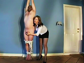 Kinky amateur Mistress hangs her boy slave