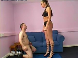This guy is going to get more than just a whiff of her shoe!