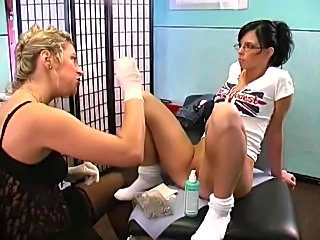 Nice girl masturbates & anal play ion doctors office