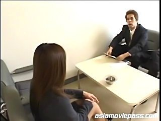 Japanese office gal gets bukkaked