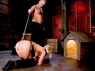 Submissive slave treated like a dog