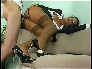 Milf secretary in glasses has anal sex