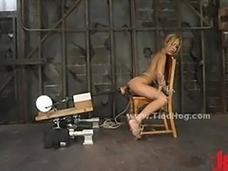 Slut is tied like a hog immobilized with hands eyes and...