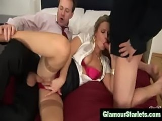 Fully clothed euro babe fucked by two guys  free