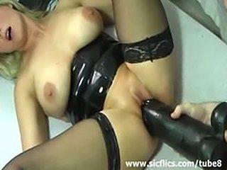 Horny amateur slut fucking a monster black dildo in her loose cun
