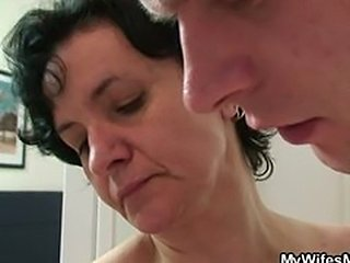 cheating, wife, sex, kitchen, tits, boob. Mature lady surprised by.