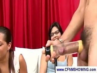 Ladies testing a cfnm penis pump  free