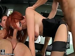 Double Penetrated Redhead In Stockings