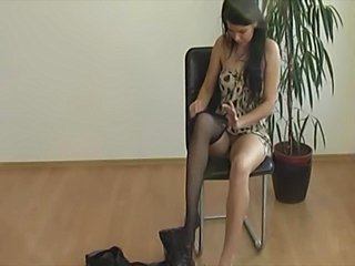 beautiful brunette teased with a feather on her clit ina field.a very long...
