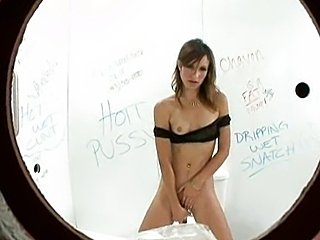 Brunette blowing dicks on toilet