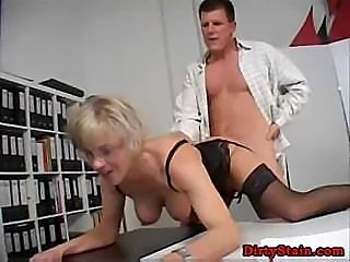 Nasty co-worker makes strict secretary's ice melt and fuck her in office