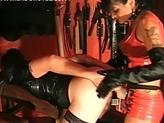 Mistress fucks slave in the ass and makes him cum