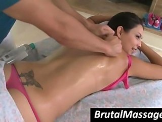 Nymphet Danni Cole gets hot ass massaged