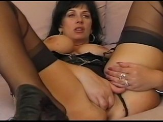 Big titted British milf Sarah Beattie fucks the handyman in ff stockings