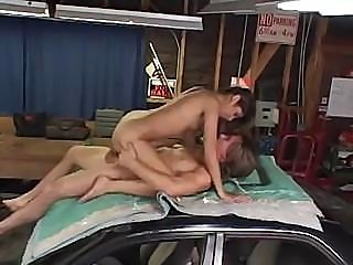 Sahara Knite is getting into some hot sucking and fucking in garage