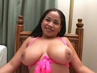 Big natural titties on curvy Latina slut