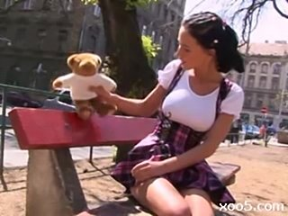 Hot hungarian with great tits plays the innocent little teen free
