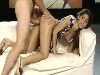 Beautiful brunette whore gets big cock from behind  free