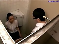 Office lady giving blowjob for guy cum to tits on the toilet free