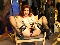 Redheat masturbates 'til she squirts, after this she gives a BJ and gets...